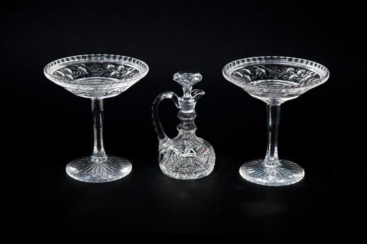 THREE PIECES OF BRILLIANT CUT GLASS.