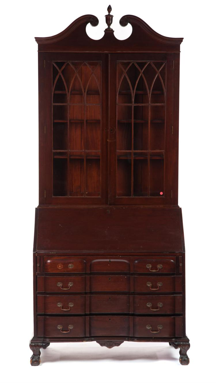 TWO-PIECE CHIPPENDALE-STYLE SECRETARY BOOKCASE.
