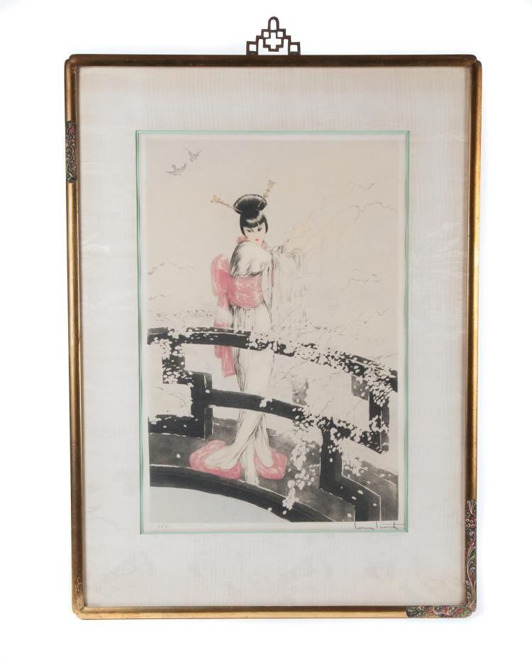 FRAMED AND MATTED WOODBLOCK PRINT SIGNED LOUIS ICART.