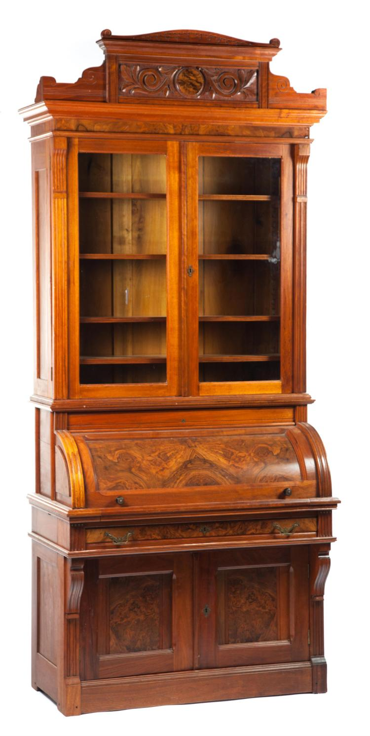 TWO-PIECE CYLINDER-ROLL SECRETARY BOOKCASE.