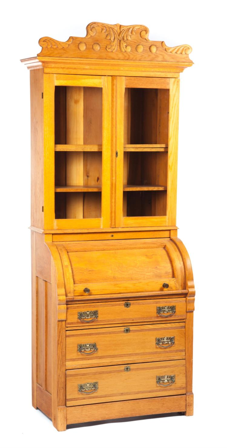 LATE-VICTORIAN TWO-PIECE CYLINDER ROLL SECRETARY BOOKCASE.