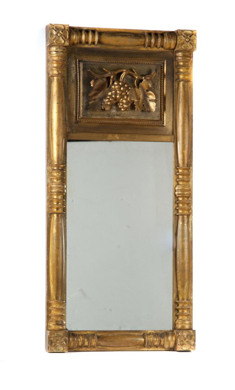 GILT FEDERAL HANGING MIRROR.