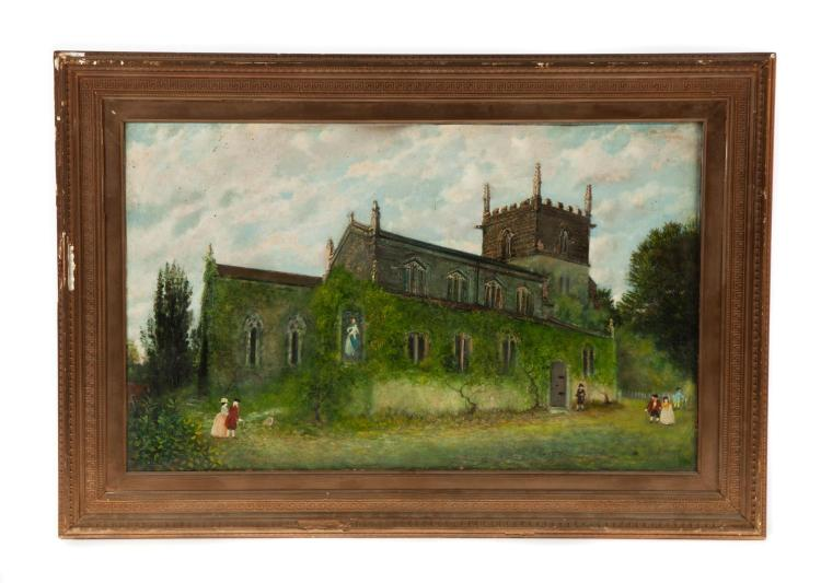 FRAMED OIL ON CANVAS OF THE CHURCH OF ST. HELEN''S IN BARNOLDBY le BECK, ARTIST SIGNED H. McSWINEY, MA.