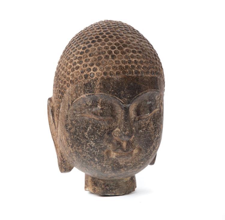 ASIAN BUDDHA STONE HEAD.