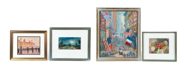 FOUR FRAMED PAINTINGS, THREE SIGNED S. PRATT (SAMUEL PRATT, 1903-1999).