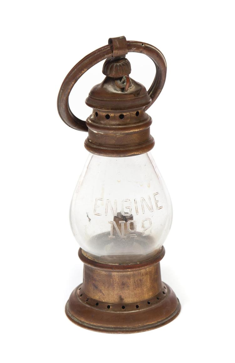 BRASS FIREHOUSE PRESENTATION LANTERN.