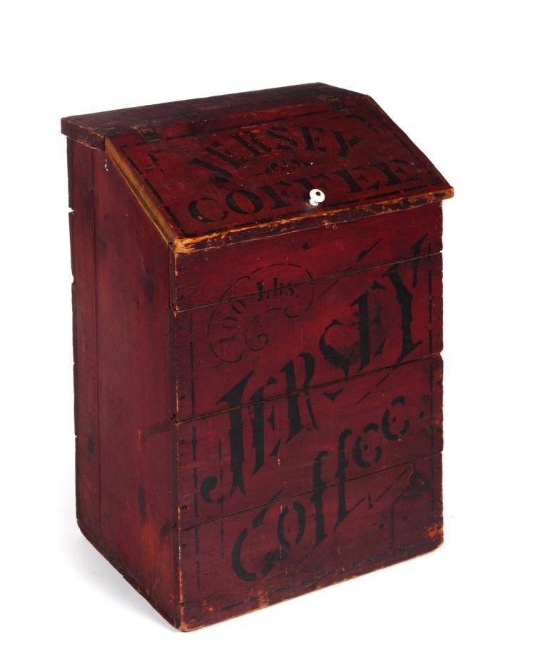 PAINTED SLANT-LID COFFEE BIN.