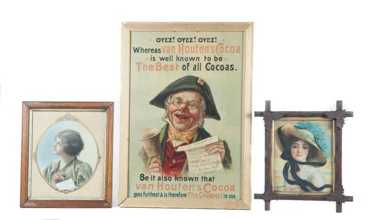 THREE FRAMED ADVERTISING PIECES INCLUDING