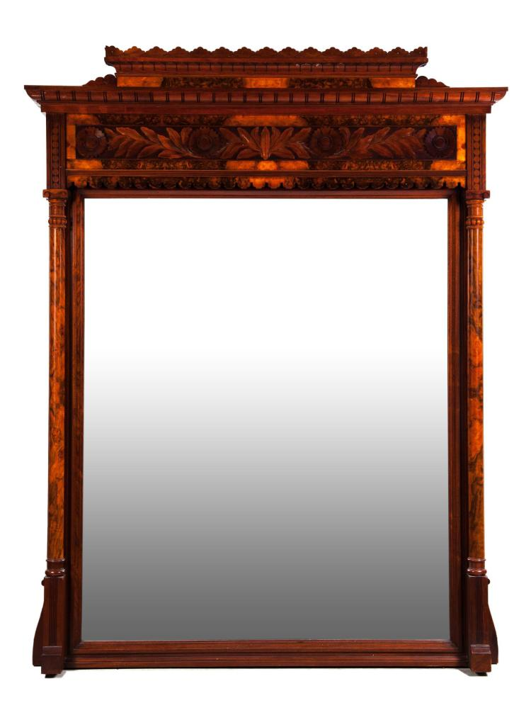 LARGE VICTORIAN OVER-MANTEL CARVED PARLOR MIRROR.