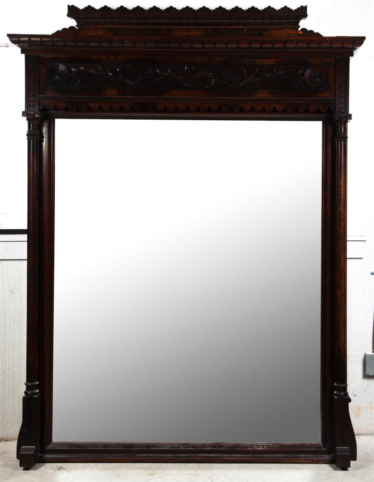 LARGE OVER-MANTEL CARVED VICTORIAN PARLOR MIRROR.