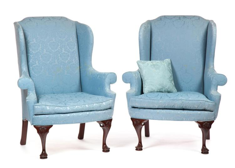 PAIR OF QUEEN ANNE-STYLE WINGBACK ARMCHAIRS BY THE HICKORY CHAIR COMPANY.