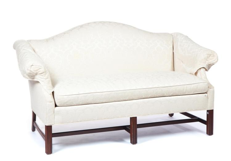 CLYDE PETERSON CHIPPENDALE-STYLE CAMELBACK SETTEE.