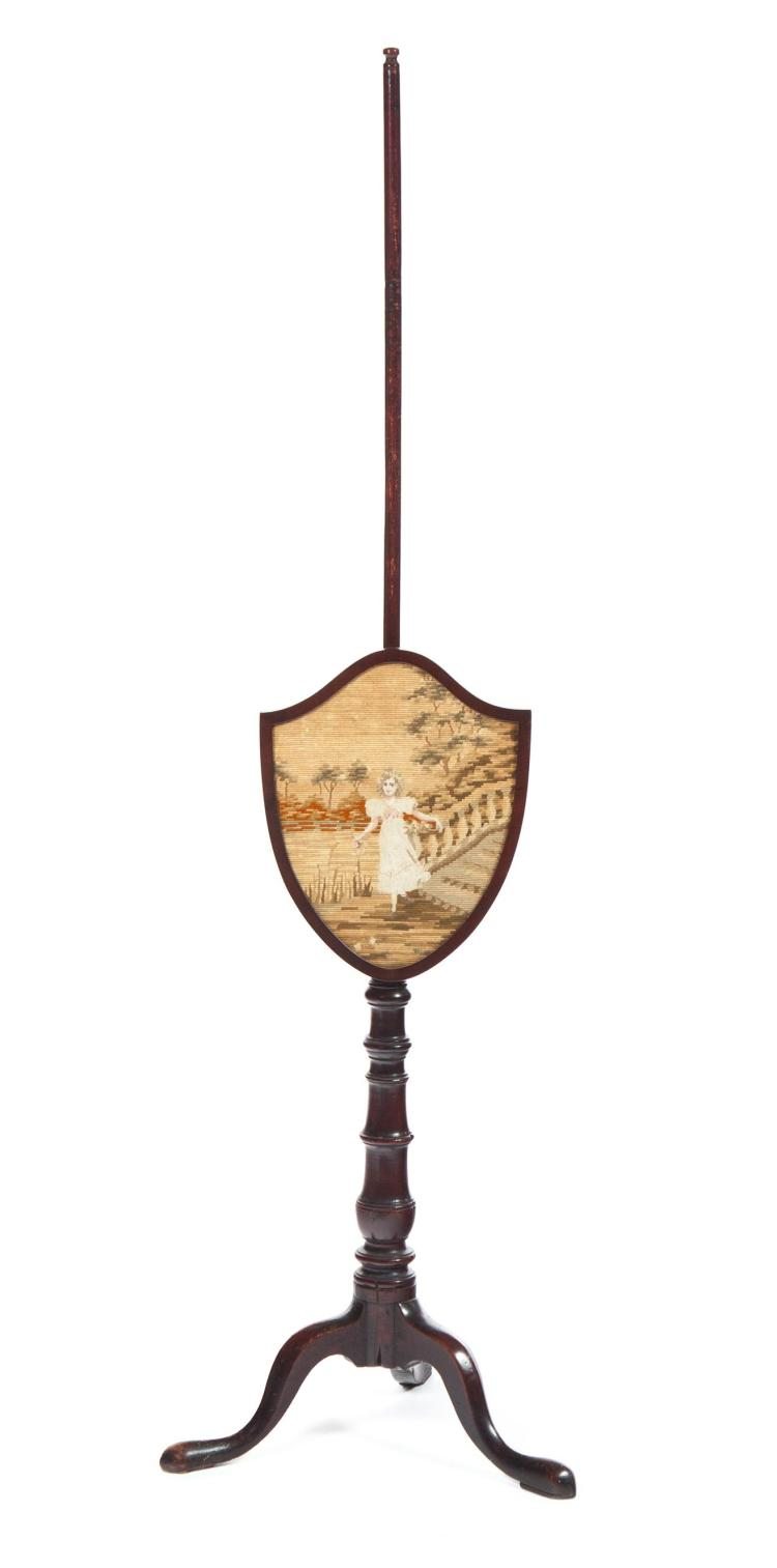 ADJUSTABLE POLE SCREEN WITH NEEDLE POINT SHIELD.