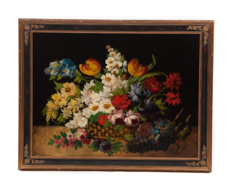 FRAMED OIL ON CANVAS STILL LIFE.