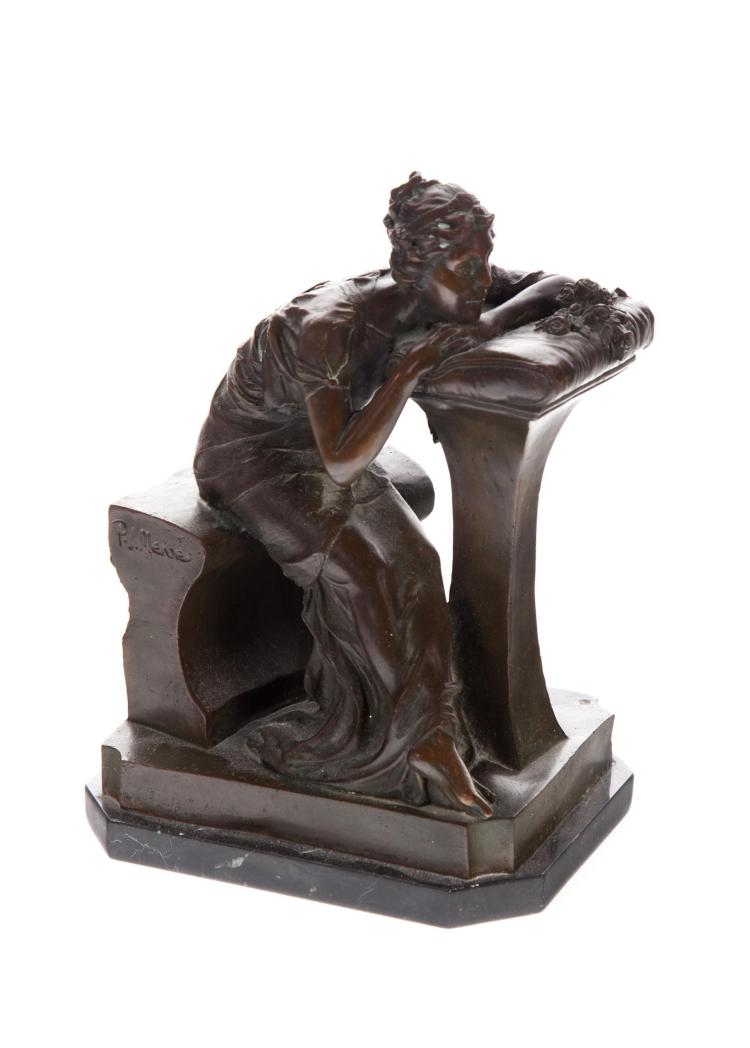 BRONZE FIGURE OF A YOUNG LADY AFTER P.J. MENE.