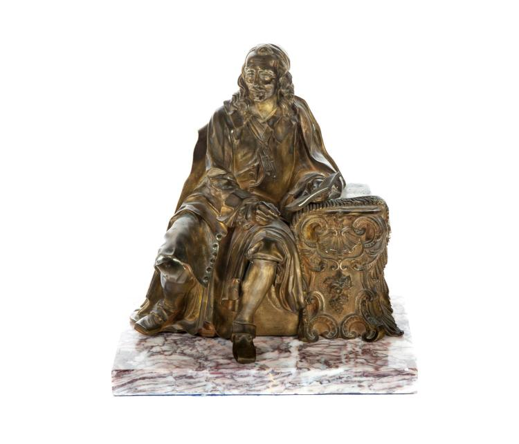 BRASS FIGURAL GROUP OF SEATED GENTLEMAN.