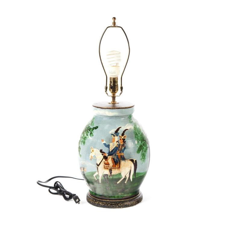 TURTLE CREEK REDWARE LAMP WITH REVOLUTIONARY WAR SCENE.