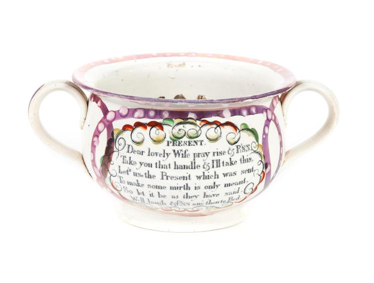 CHAMBER POT WITH SUNDERLAND LUSTRE DECORATION.