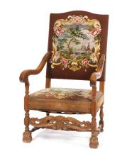 ARM CHAIR WITH NEEDLEWORK SEAT AND BACK.