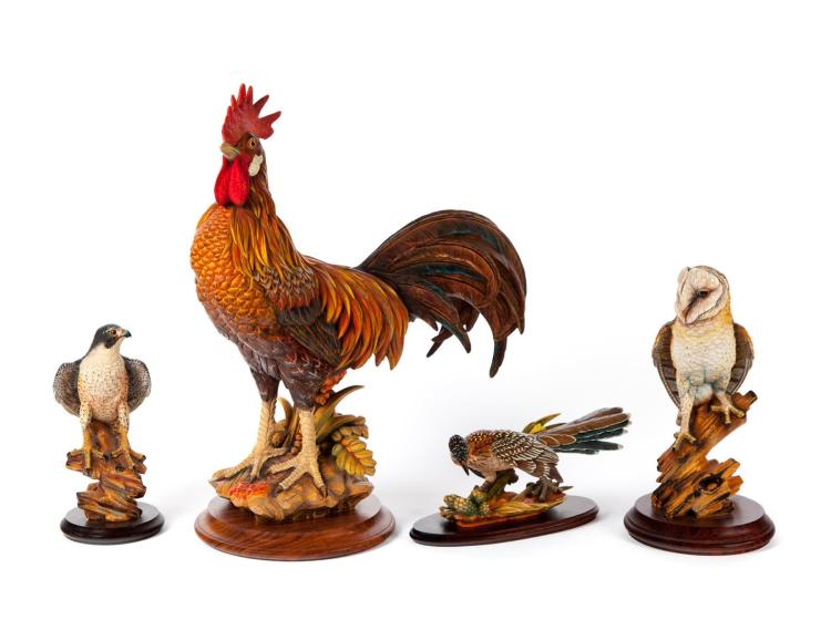 FOUR ANRI WOOD CARVED FIGURES OF BIRDS.