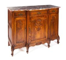 LOUIS XV-STYLE MARBLE TOP SIDEBOARD.