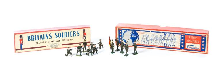 TWO BOXES OF CAST TOY SOLDIERS.