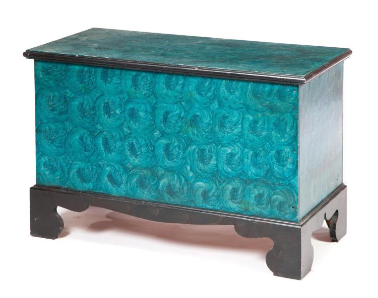 CHIPPENDALE-STYLE PAINT DECORATED BLANKET CHEST.