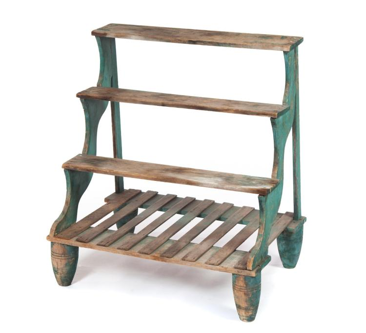 SET OF COUNTRY PAINTED STEPPED PLANT STAND SHELVES.