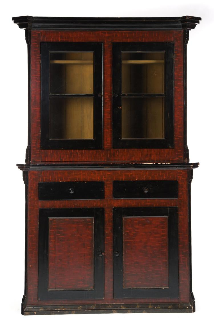 COUNTRY EMPIRE TWO-PIECE STEPBACK CUPBOARD.