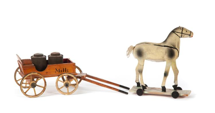 PRIMITIVE CHILD''S HORSE PULL TOY WITH WAGON.