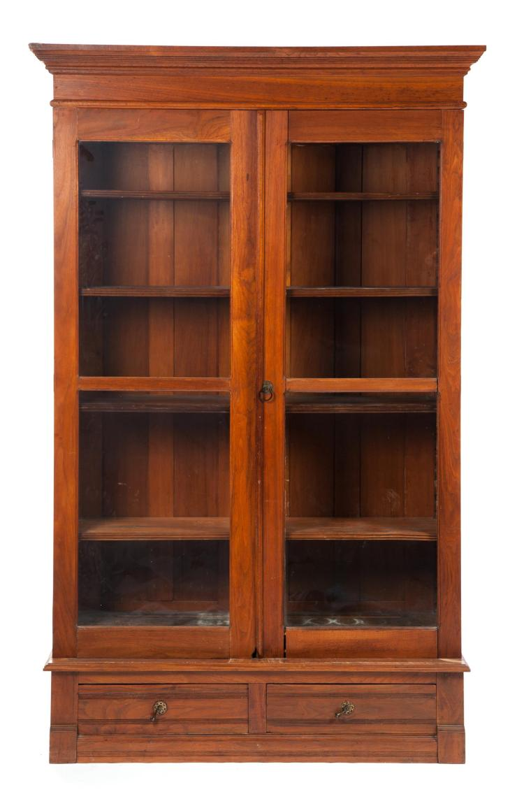 THREE-PIECE TWO-DOOR LIBRARY BOOKCASE.