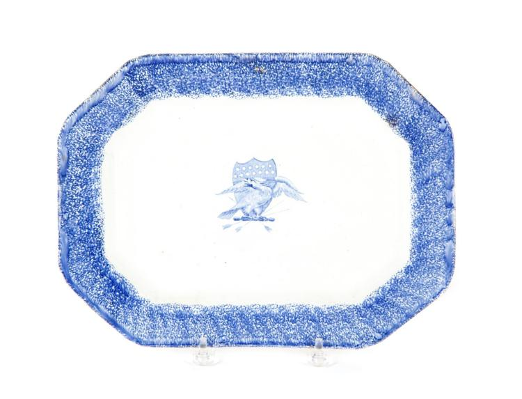 IRONSTONE SPONGEWARE PLATTER WITH EAGLE AND SHIELD TRANSFER.