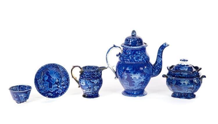 ASSEMBLED FOUR-PIECE HISTORICAL BLUE TEA SET