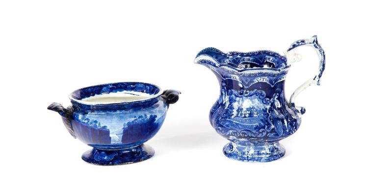 TWO PIECES OF HISTORICAL BLUE STAFFORDSHIRE.
