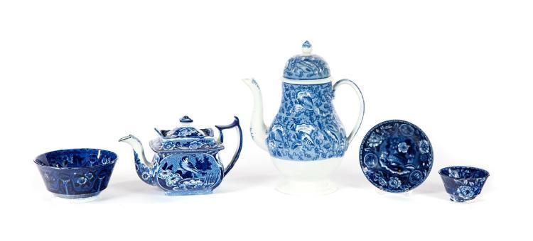 FOUR PIECES OF ROMANTIC TRANSFER BLUE STAFFORDSHIRE.