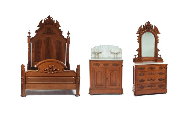 THREE-PIECE VICTORIAN BEDROOM SUITE.