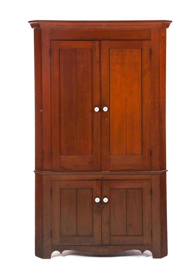 ONE-PIECE COUNTRY CORNER CUPBOARD.