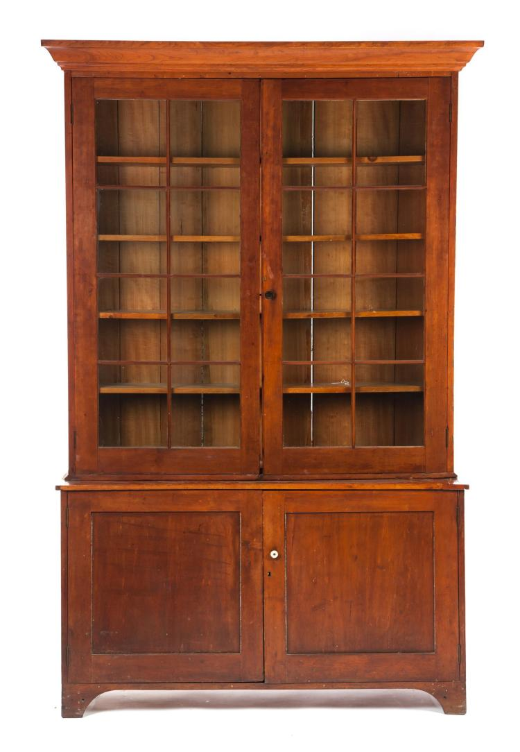 COUNTRY SHERATON TWO-PIECE STEPBACK BOOKCASE.