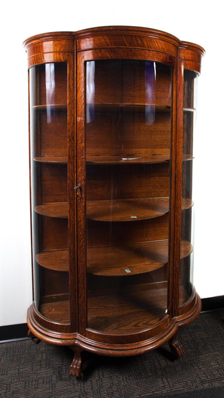 CURVED GLASS CHINA CABINET.