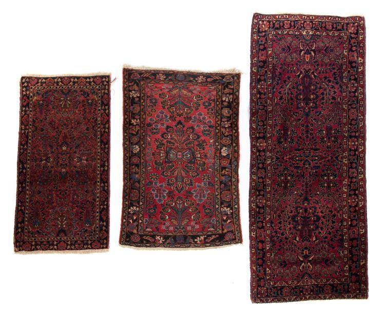 TWO HANDMADE ORIENTAL AREA RUGS AND A RUNNER.