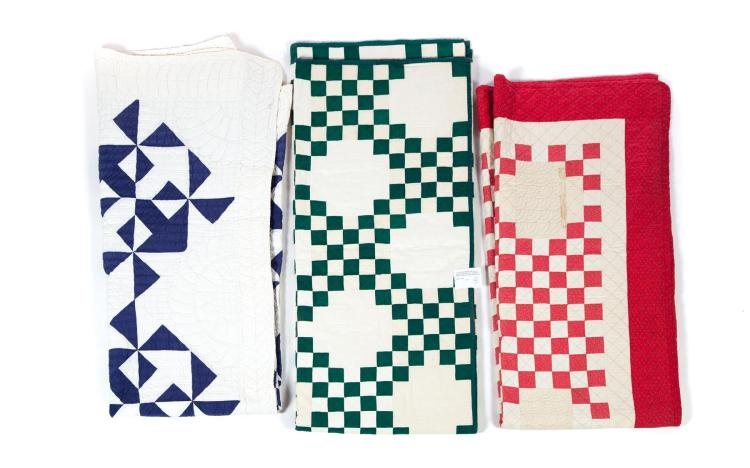 THREE AMERICAN QUILTS.