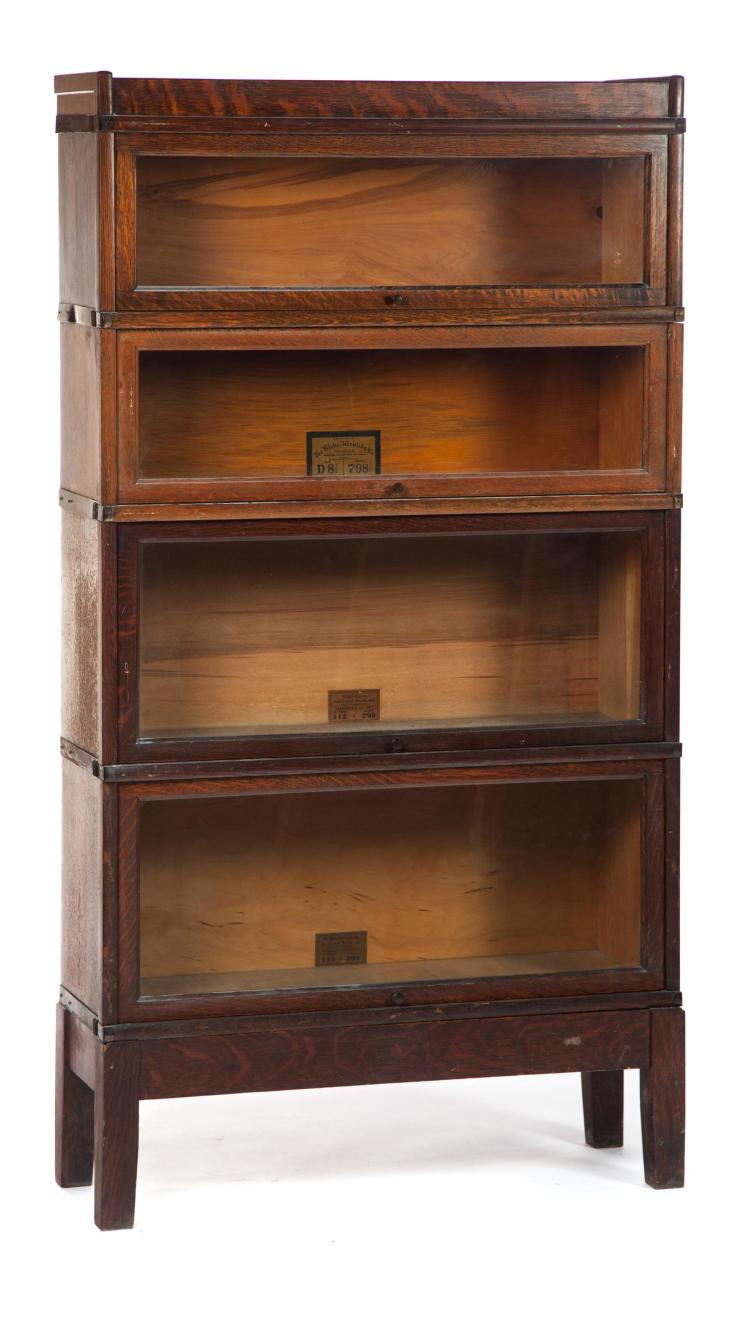 GLOBE-WERNICKE ASSEMBLED FOUR-STACK BOOKCASE.