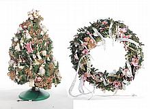 DECORATED TREE AND WREATH.