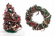 DECORATED HOLIDAY TREE AND WREATH.