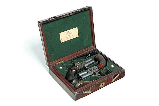 CASED AND ENGRAVED SET OF PERCUSSION OVER/UNDER PISTOLS BY