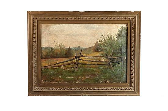 LANDSCAPE WITH FENCE BY ALEXANDER HELWIG WYANT (NEW YORK, 1826-1892).