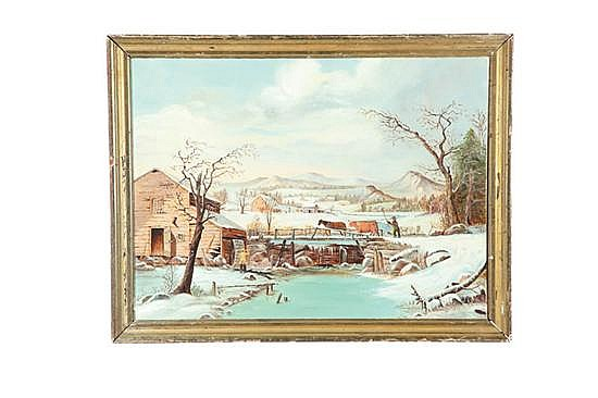 WINTER FARM LANDSCAPE (AMERICAN, EARLY-MID 20TH CENTURY).