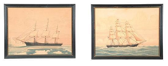 PAIR OF SHIP PORTRAITS BY LUCIUS A. BRIGGS (MASSACHUSETTS, 1852-1931).