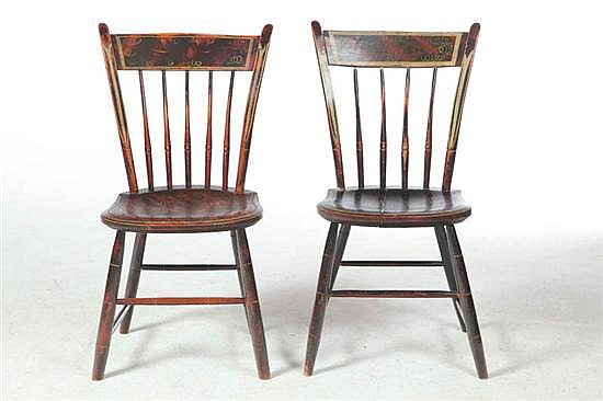 PAIR OF DECORATED SIDE CHAIRS.