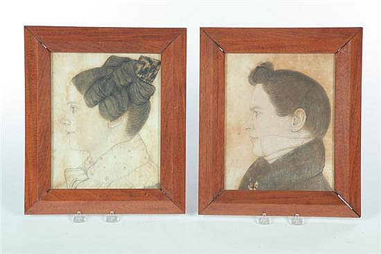 PORTRAITS OF JOHN AND CAROLINE BROKAW BY ROBERT SEEVERS (OHIO, BORN 1807).